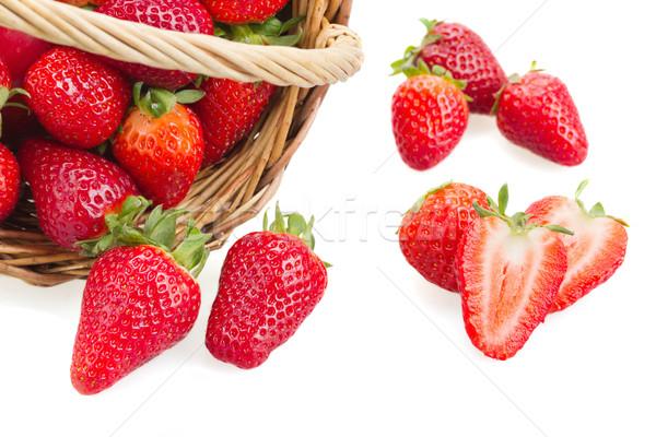 Fresh Strawberries And Basket Stock photo © neirfy