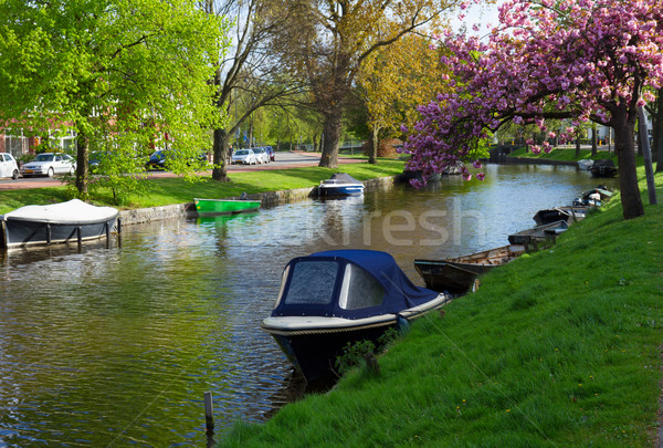 canal in old town of Haarlem, Holland Stock photo © neirfy