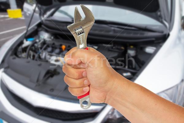 手 レンチ 自動車修理 背景 男性 ストックフォト © neirfy