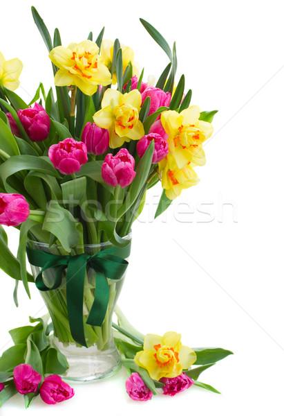 тюльпаны нарциссов ваза свежие розовый Сток-фото © neirfy