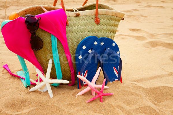 Güneşlenme yaz saman çanta Stok fotoğraf © neirfy