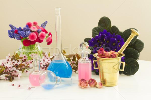 Aromaterapi kuru çiçekler taze cam yağ Stok fotoğraf © neirfy