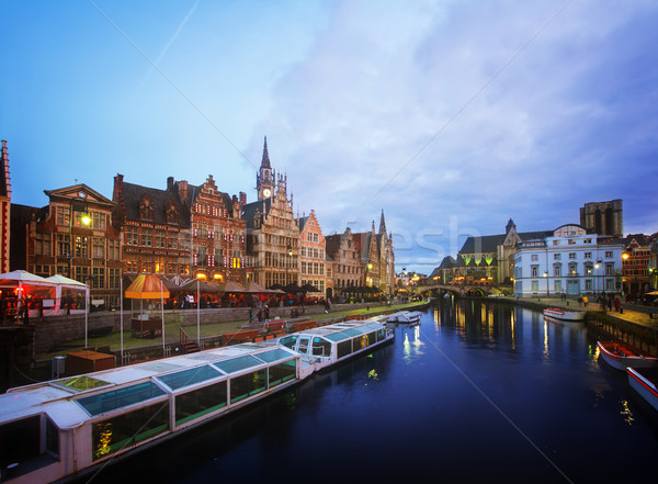 Buildings With Tourboats, Ghent Stock photo © neirfy
