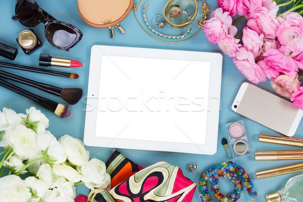 Féminin bureau femme mode bleu fleurs Photo stock © neirfy