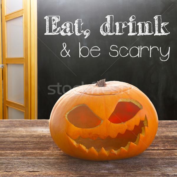 halloween pumpkins on table Stock photo © neirfy