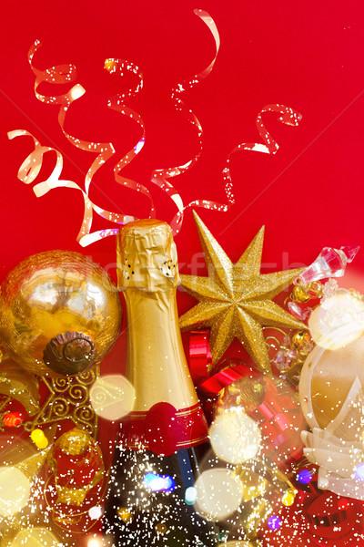 Zdjęcia stock: Nowy · rok · dekoracje · butelki · szampana · czerwony · scena