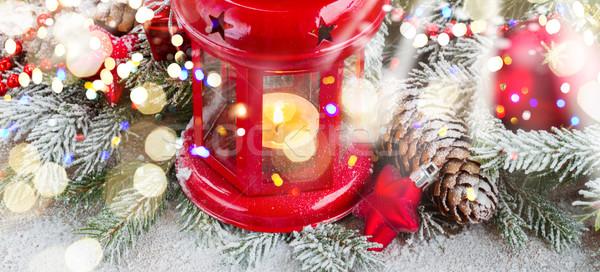 Рождества фонарь красный украшенный Сток-фото © neirfy