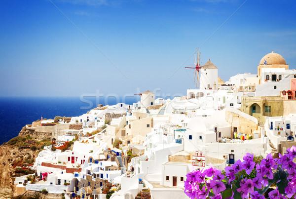 Hagyományos görög falu fehér Santorini Görögország Stock fotó © neirfy
