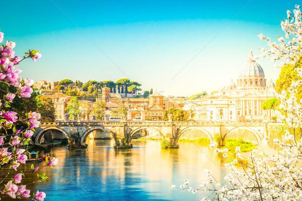 Cathédrale pont rivière Rome printemps jour Photo stock © neirfy
