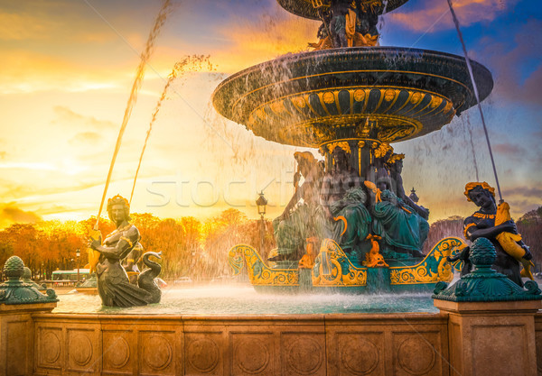 Fountain on Concorde Square and Obelisk Stock photo © neirfy