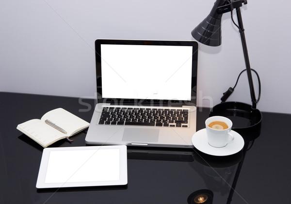 Munka hely laptop tabletta modern papír Stock fotó © neirfy