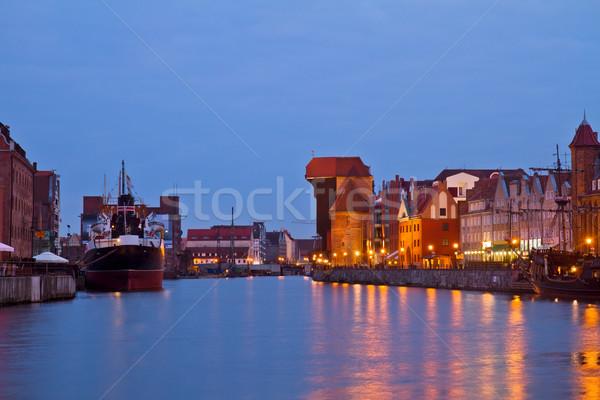 Quai vieux gdansk nuit Pologne maison Photo stock © neirfy