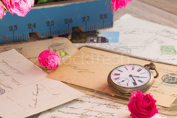 old pile of mail  and antique clock Stock photo © neirfy