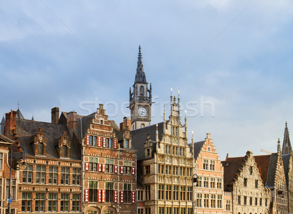 fronts of medieval houses, Ghent Stock photo © neirfy