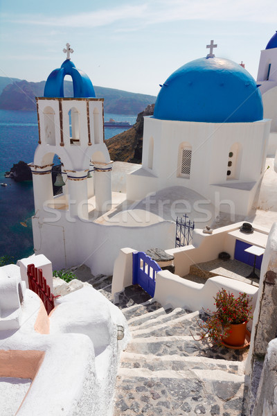 Stock photo: view of caldera with stairs and church, Santorini