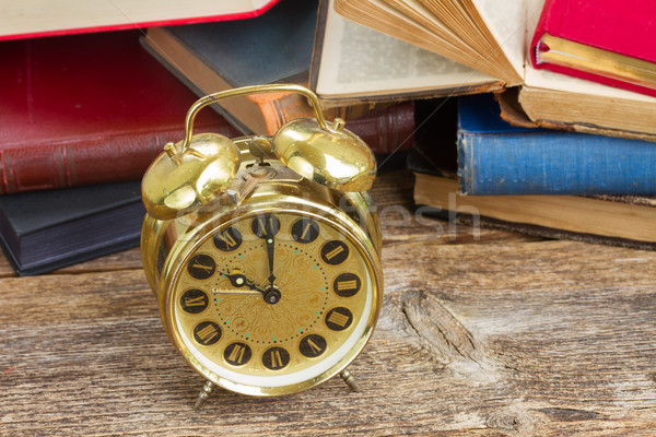 pile of books with clock Stock photo © neirfy
