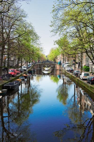 Brücke Niederlande Kanal Spiegel Reflexionen Wasser Stock foto © neirfy