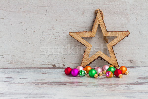 Christmas star decoraties houten hout Stockfoto © neirfy