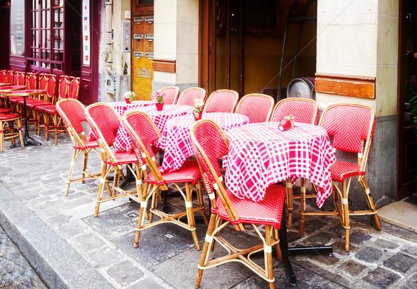 Kávézó Párizs Franciaország kilátás romantikus utca Stock fotó © neirfy