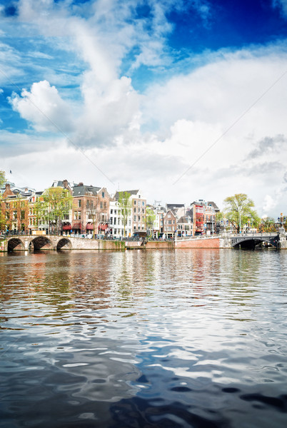 Stockfoto: Kanaal · Amsterdam · holland · retro · hemel · water