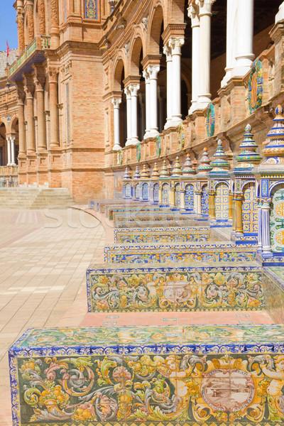benches of  Plaza de España, Sevilla, Spain Stock photo © neirfy