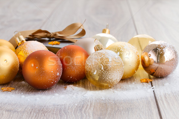 x-mas glass balls  and gift box Stock photo © neirfy
