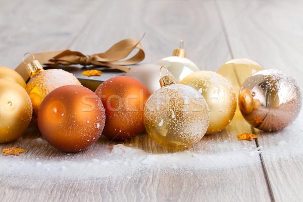 x-mas glass balls  and gift box Stock photo © neirfy