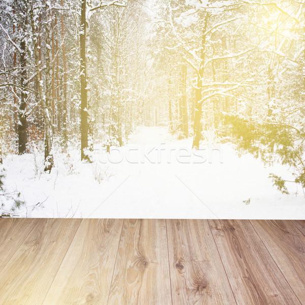 Bois hiver forêt lumière maison Photo stock © neirfy