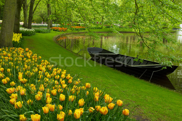 spring garden with canal and boat Stock photo © neirfy