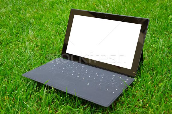 Tabletta billentyűzet friss fű zöld fű copy space Stock fotó © neirfy