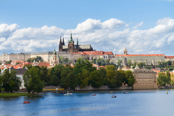 skyline of Prague with Vitus cathedral Stock photo © neirfy