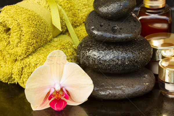 Orchidee spa-behandeling massage stenen handdoeken gezondheid Stockfoto © neirfy