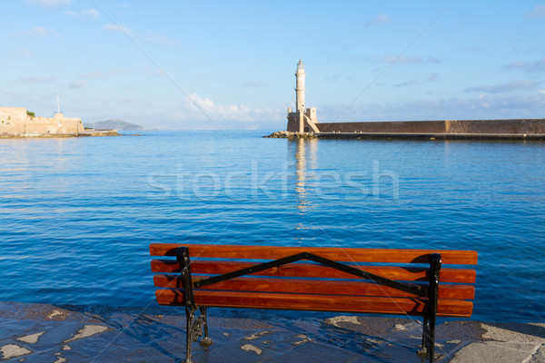 ギリシャ ベニスの ベンチ 灯台 空 ストックフォト © neirfy