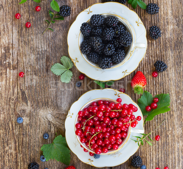 fresh red currant berry and blackberry Stock photo © neirfy