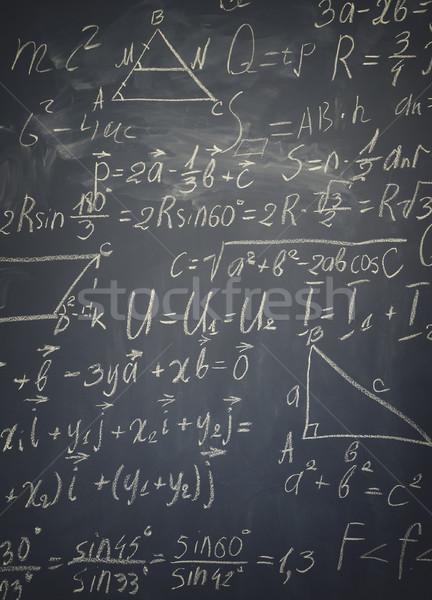 Matematika képletek iskolatábla írott fehér kréta Stock fotó © neirfy
