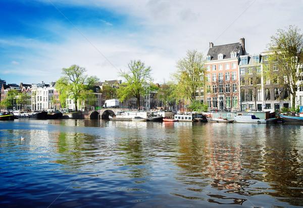 Stok fotoğraf: Kanal · Amsterdam · Hollanda · Retro · gökyüzü · su