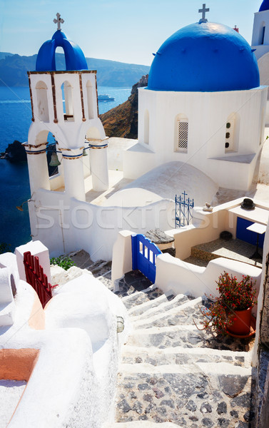 view of caldera with stairs and church, Santorini Stock photo © neirfy