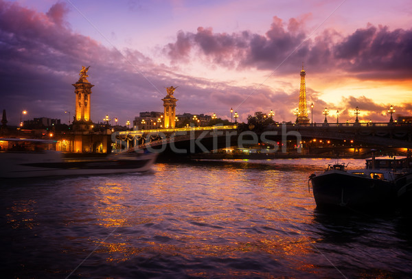 Stok fotoğraf: Köprü · Eyfel · Kulesi · Paris · nehir · mor · Fransa