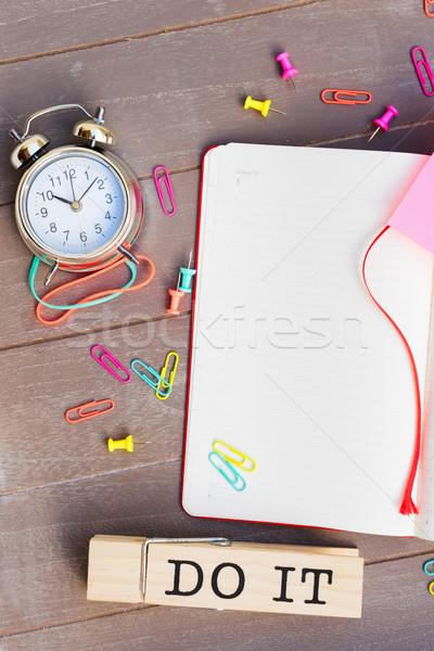 Open agenda copia spazio parole pen tavola Foto d'archivio © neirfy