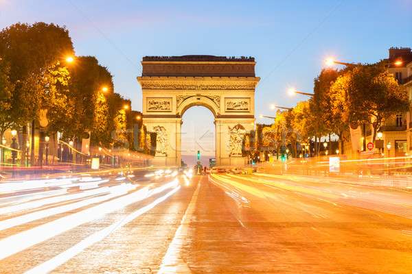 Arc de Triomphe Parijs Frankrijk nacht licht straat Stockfoto © neirfy