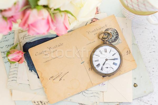 Antieke mail klok exemplaar ruimte papier frame Stockfoto © neirfy