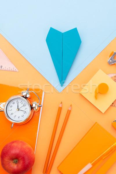 Zurück in die Schule top Ansicht Szene Schulbedarf blau Stock foto © neirfy