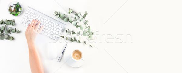 Ev ofis Çalışma alanı birisi el yazarak beyaz Stok fotoğraf © neirfy