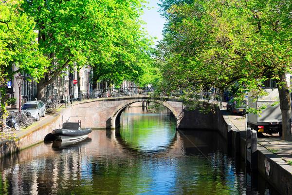住宅 オランダ 橋 アムステルダム 運河 リング ストックフォト © neirfy