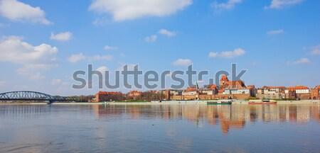 Stock fotó: Sziluett · Lengyelország · óváros · híd · folyó · tavasz