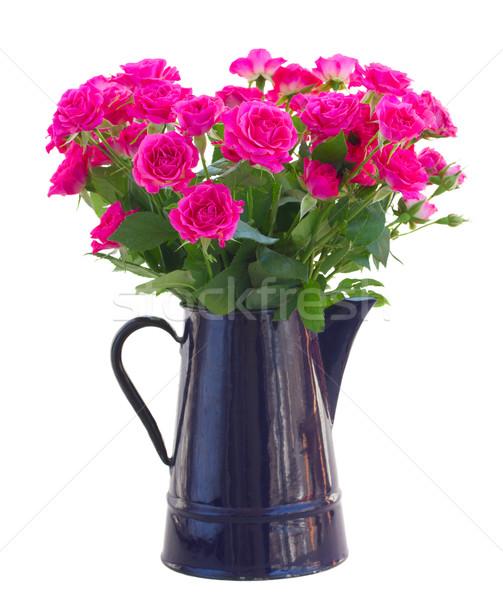 Virágcsokor virágzó rózsaszín rózsák váza izolált Stock fotó © neirfy
