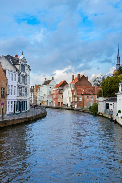улице старый город канал Бельгия дома город Сток-фото © neirfy