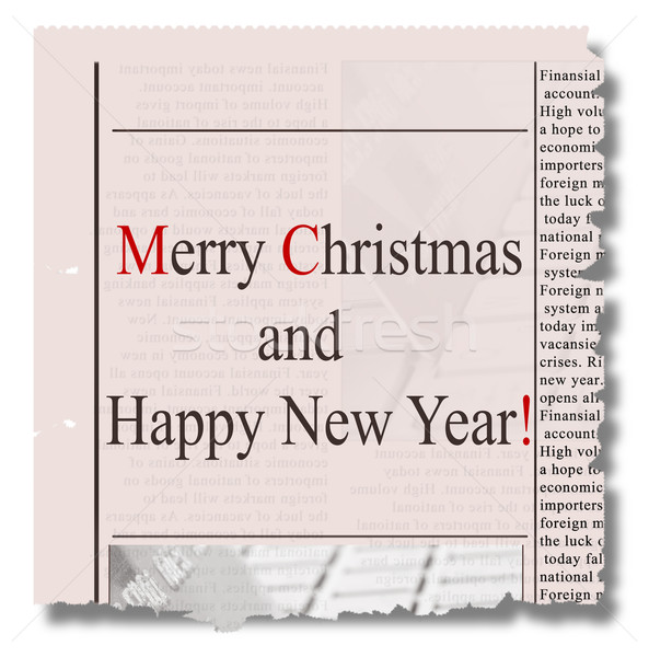Merry christmas  and happy new year  newspaper Stock photo © neirfy
