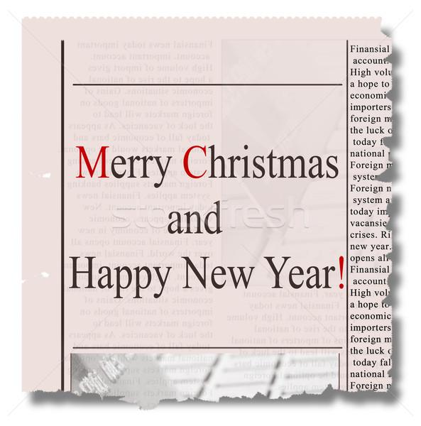 Vrolijk christmas gelukkig nieuwjaar krant woorden stuk Stockfoto © neirfy