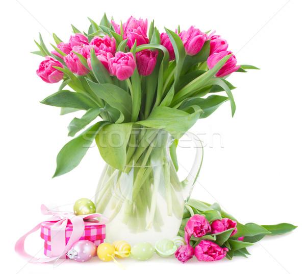 ストックフォト: ピンク · チューリップ · 花 · ガラス · 花瓶